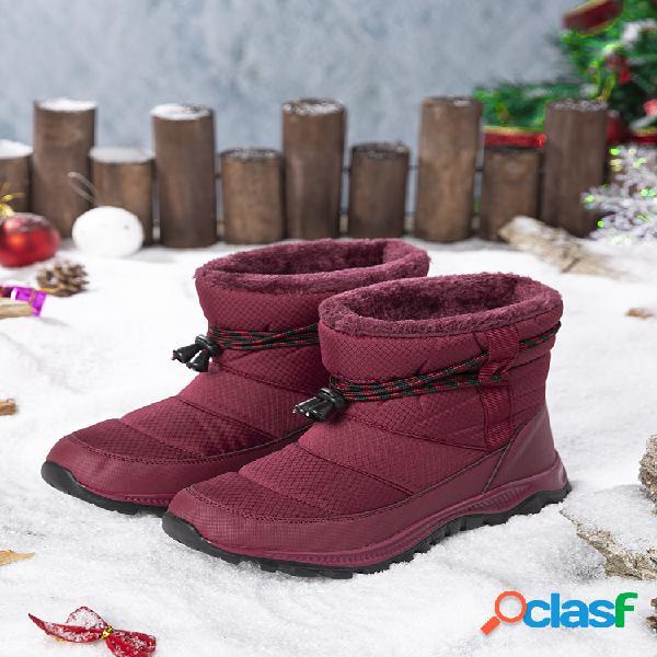 Mujer forro cálido de piel impermeable antideslizante soft suela invierno nieve botas