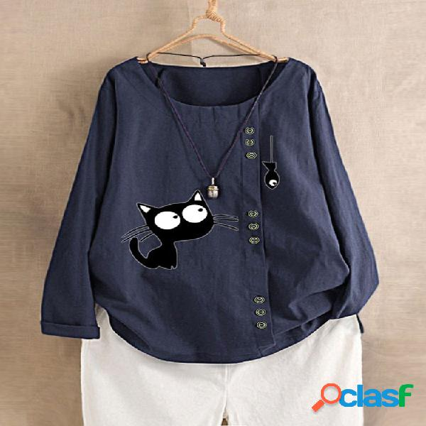 Mujer manga larga con cuello en o gato estampado camisa