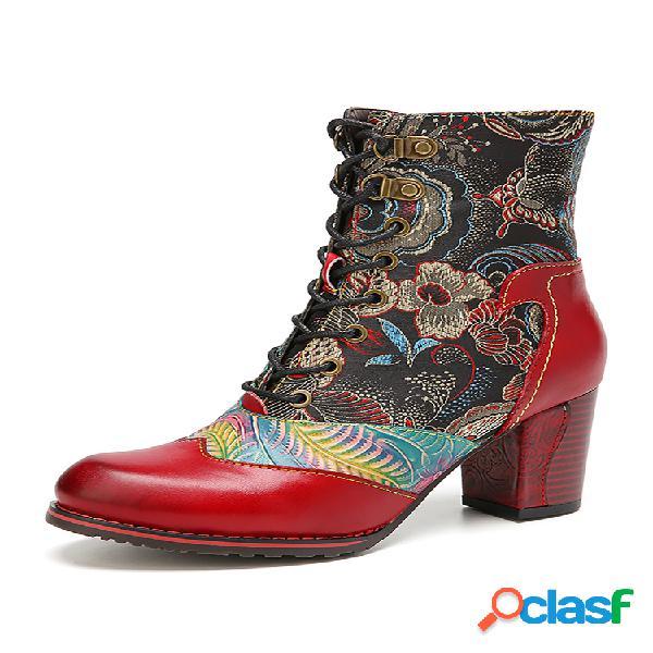 Socofy retro flores empalme de tela hoja cuero repujado cómodo pantalón corto botas