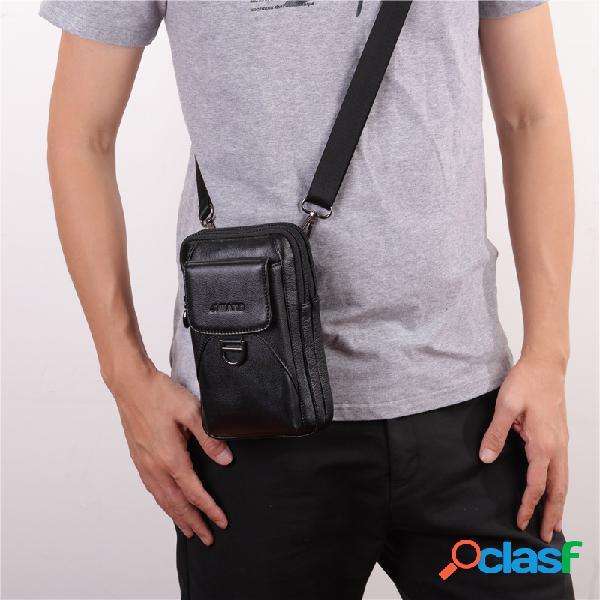 Cuero genuino de 7 pulgadas almohadilla / bolso del teléfono retro alta capacidad de la cintura bolsas de negocios bolso cruzado para hombres