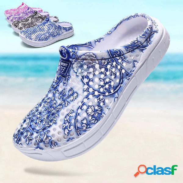 Mujer impresión hueco cómodo antideslizante casual playa zapatillas