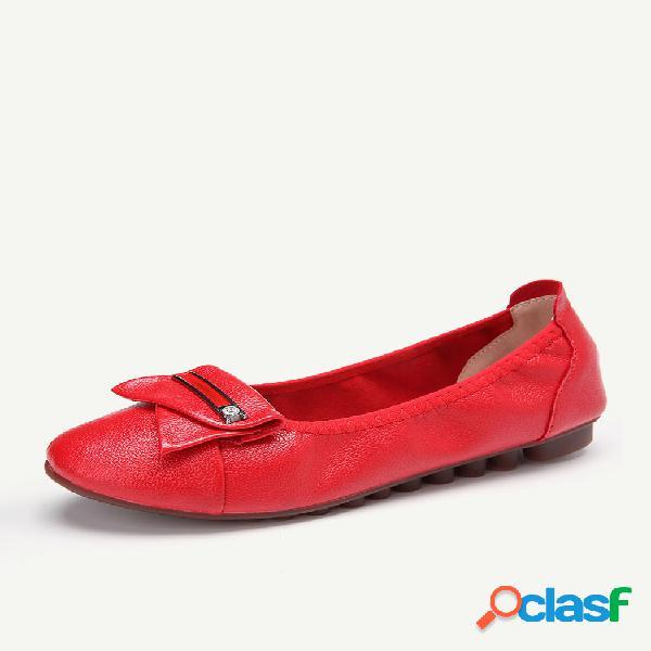 Mujer punta redonda de metal cómodo soft deslizamiento de suela en zapatos planos