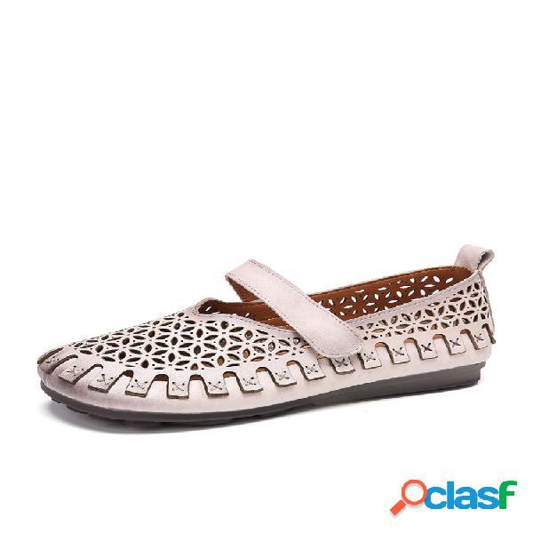 Socofy vendimia costuras recortadas hechas a mano en cuero gancho zapatos planos con correa de lazo