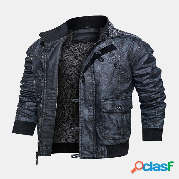 Cuero de la pu para hombre moto chaquetas casuales con capucha y bolsillo con forro de plumón abrigos