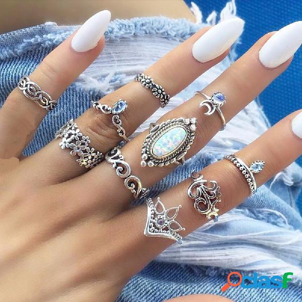 Estilo retro tallado anillos de piedras preciosas anillos de la aleación de la astilla de 10 pedazos kit anillos comunes de las mujeres