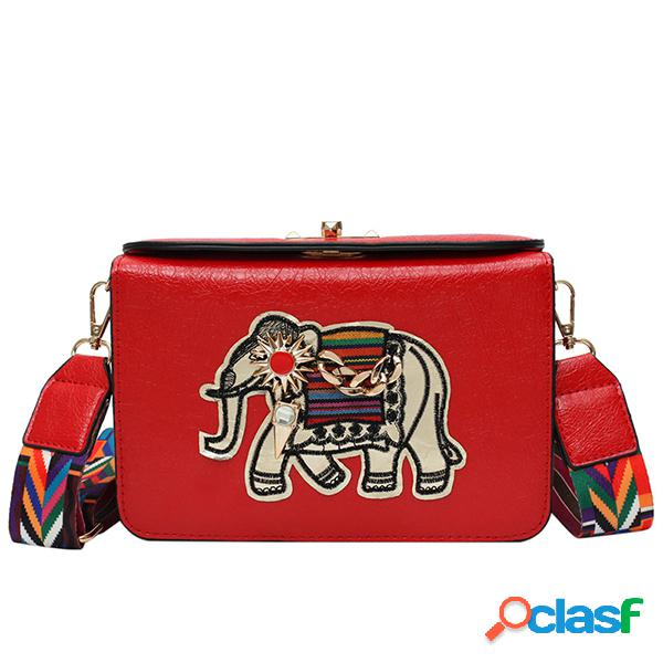 Mujer bandolera con bordado de elefante nacional bolsa hombro de cuero pu bolsa