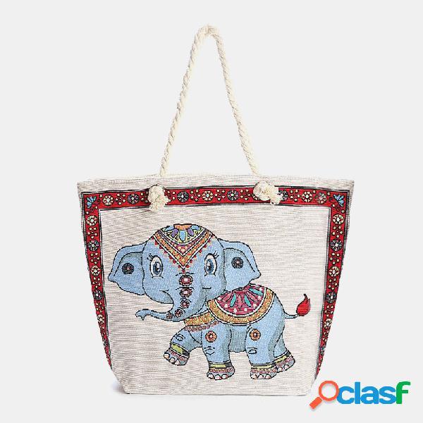 Mujer bolso tote nacional de elefante de gran capacidad bolsa bolso
