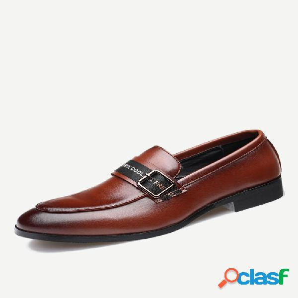 Zapatos formales antideslizantes de cuero de microfibra para hombre
