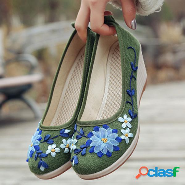 Mujer zapatos de cuña de tela de tacones altos bordados florales hechos a mano