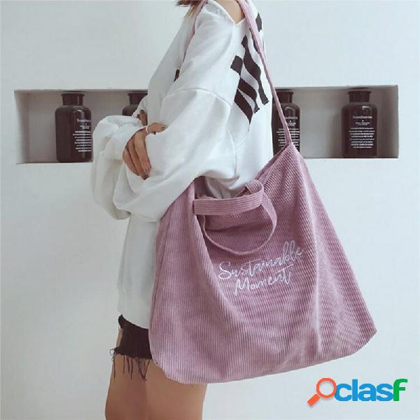 Mujer bolso retro de pana con cremallera bolsa bolso de hombro bolsa