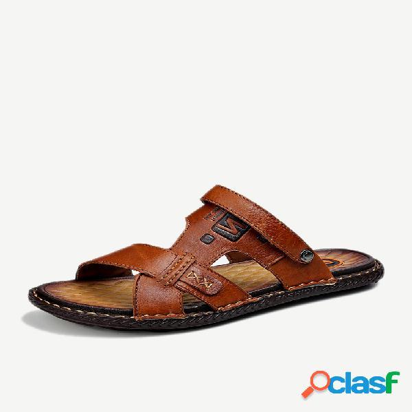 Hombre comfy soft sole water slip on playa cuero sandalias