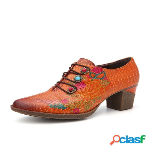 Socofy zapatos de tacón de bloque con cordones elásticos florales con cuentas a cuadros de cuero vestido zapatos