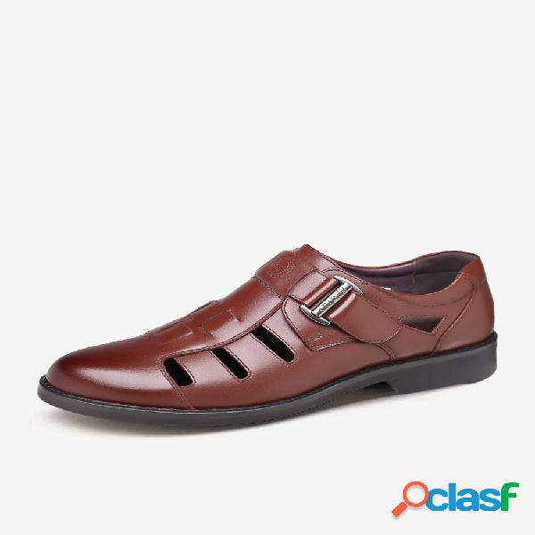 Cuero tejido con punta cerrada para hombre gancho loop vestido sandalias