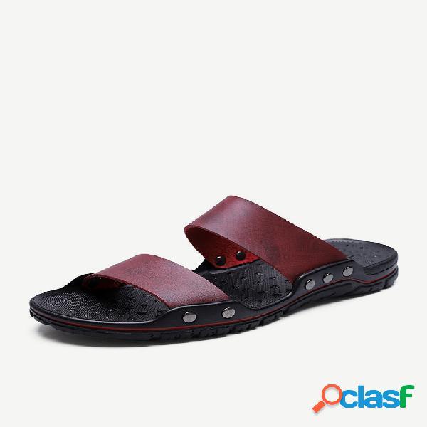 Hombre pure color comfy sintético cuero playa casual zapatillas