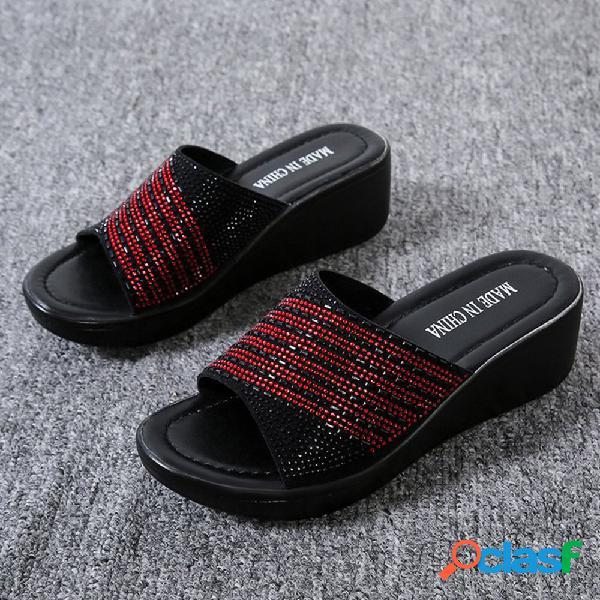 Mujer rhinestone casual cómodo usable soft cuña de suela zapatillas