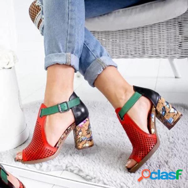 Mujer zapatos de tacón con punta abierta, cómodos, transpirables, para vestir, con hebilla