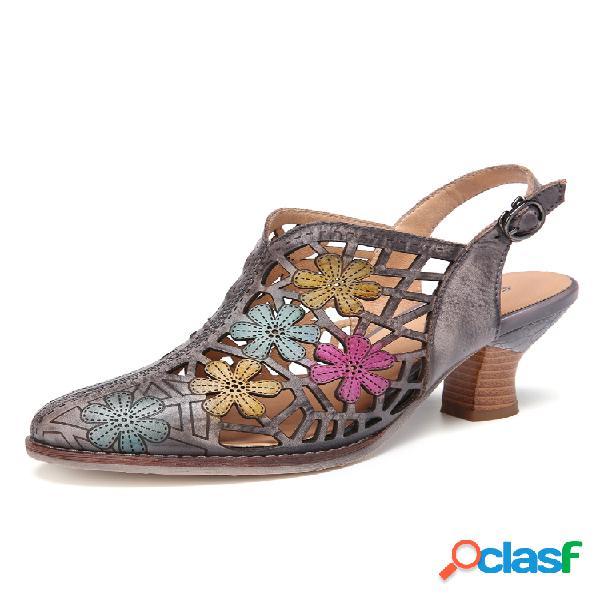 Socofy cuero desgastado floral recorte hebilla correa slingback punta puntiaguda tacón grueso sandalias