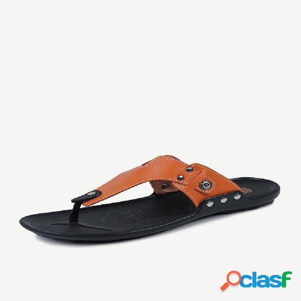 Hombre cuero de microfibra cómodo usable casual playa chanclas zapatillas