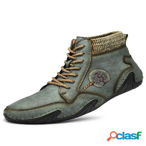 Menico hombre hecho a mano soft tobillo de cuero con cordones antideslizantes botas