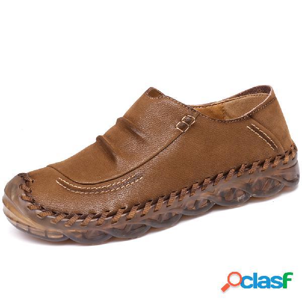 Menico hombres antideslizante cosido a mano antideslizante en zapatos de cuero casuales