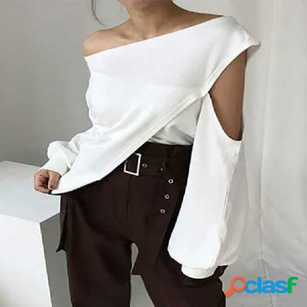 Blusa hueca de un solo hombro de moda Plus