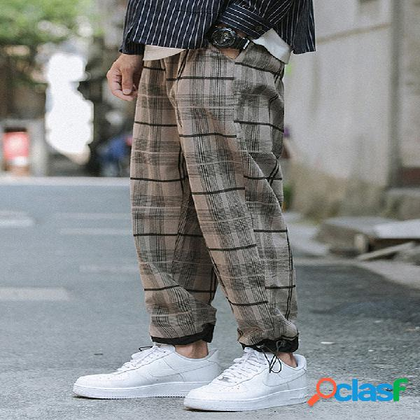 Cintura elástica holgada con múltiples bolsillos, 100% algodón, tartán, para hombre, Carga Pantalones