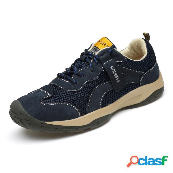 Hombres al aire libre malla empalme zapatos de senderismo casuales resistentes al deslizamiento