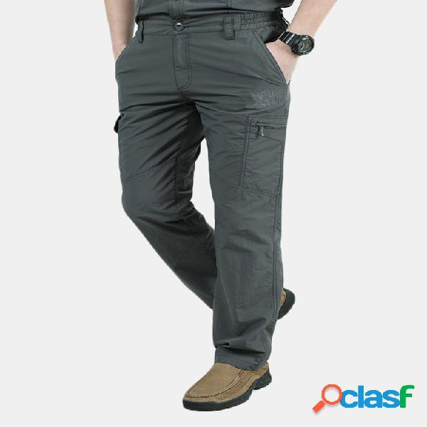 Hombres al aire libre casual de secado rápido y transpirable multi-bolsillo militar carga pantalones