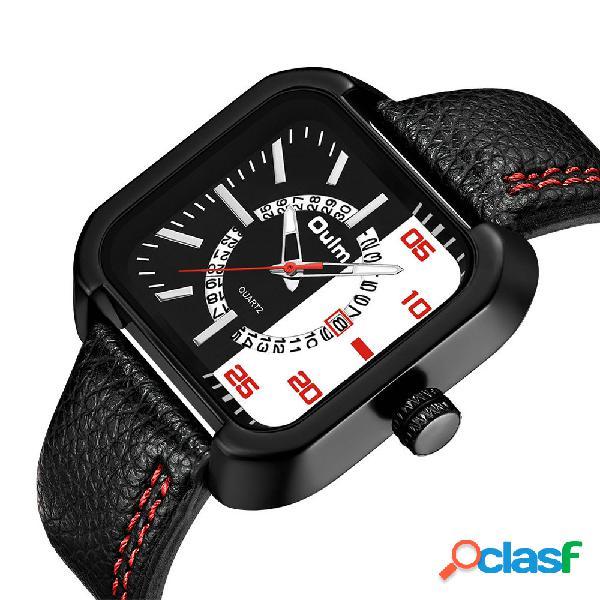Fecha pantalla relojes de cuarzo con correa de cuero para hombres de moda