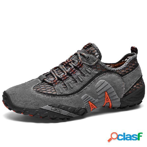 Hombres malla transpirable al aire libre zapatos antideslizantes para caminar en el agua