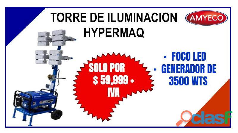 TORRE DE ILUMINACION FOCO LED CON GENERADOR