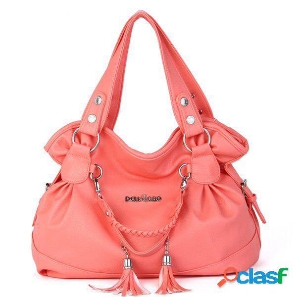 Elegante mujer borla colgante bolso señoras casual hombro de compras bolsa