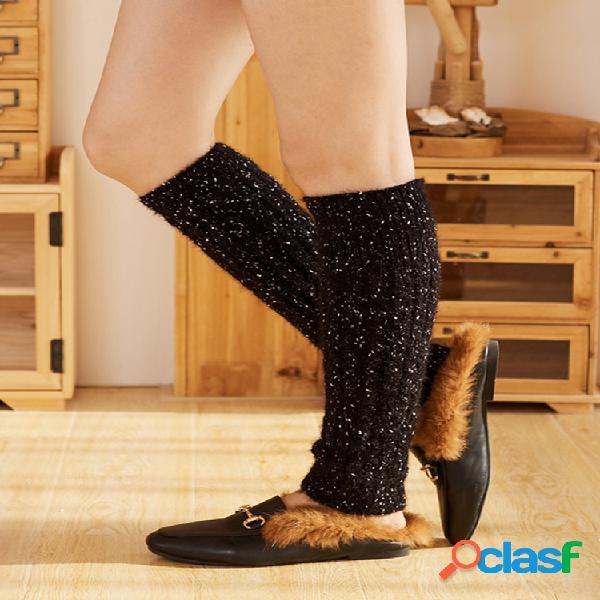 Compresión para mujer calcetines tubo corto calcetines punto de lana de cachemira botas calcetines