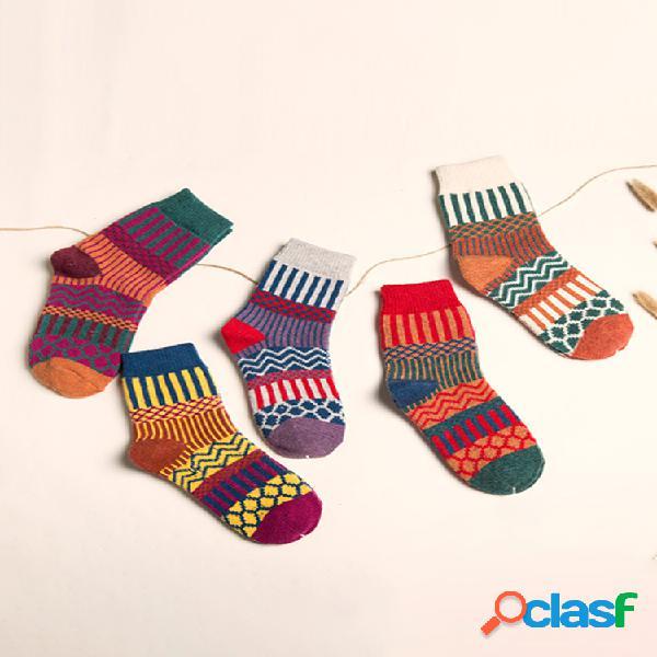 Funda casual tribal mujer calcetines cinco pares para un conjunto