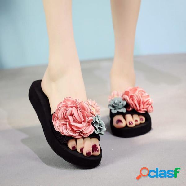 Mujer flores decoración comfy antideslizante casual playa plataforma zapatillas