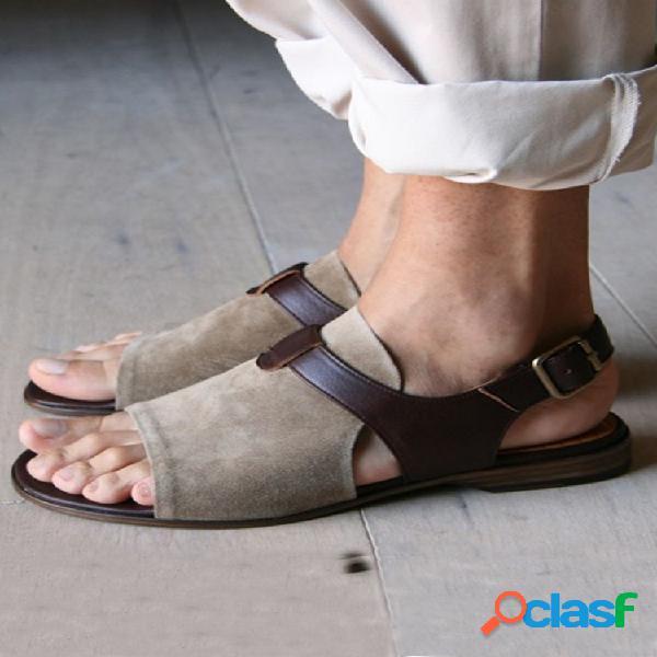 Talla grande mujer correa plana retro con hebilla hueca y punta abierta sandalias