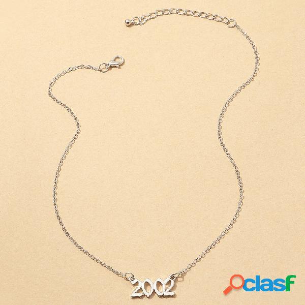 Retro simple año collares aleación de plata número árabe colgante collares mujer joyas