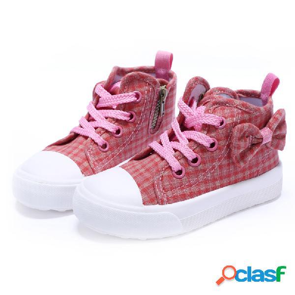Zapatos de lona de cuadros escoceses cómodos antideslizantes con cremallera lateral para niñas