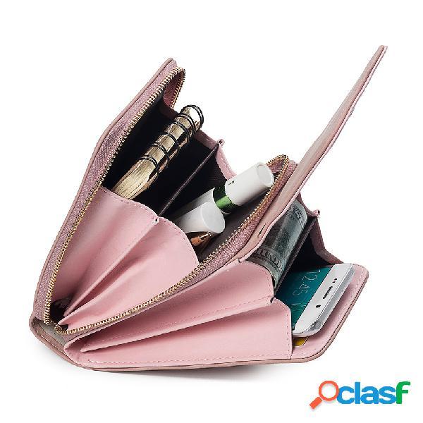 Mujer monedero casual multifunción para teléfono con 6 ranuras para tarjetas pu crossbody bolsa