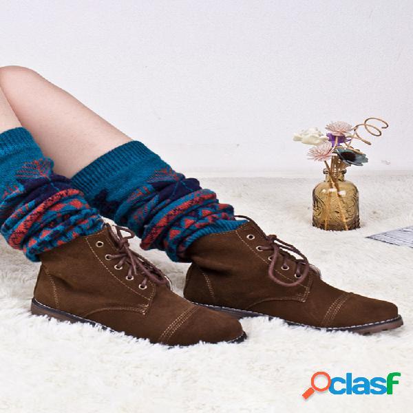 Compresión para mujer calcetines moda de punto botas mocasín calcetines