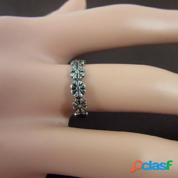 Anillo tallado vintage anillos de pie de flor anillos de dedo de plata ajustables abiertos joyas étnicas