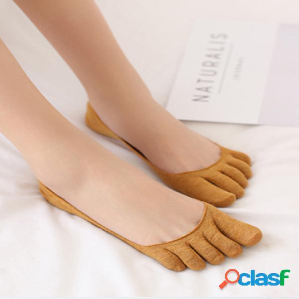 Puntera invisible de algodón para mujer calcetines tacón de medio agarre calcetines sólido transpirable calcetines