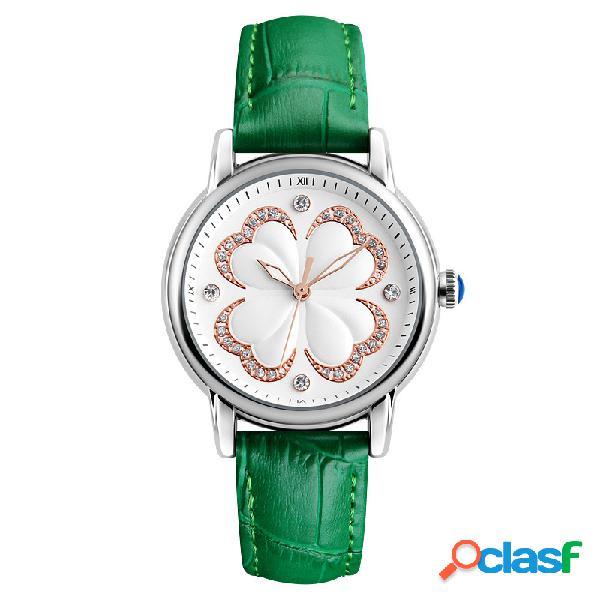 Casual relojes de mujer correa de cuero vestido casual reloj de cuarzo reloj trébol de cuatro hojas