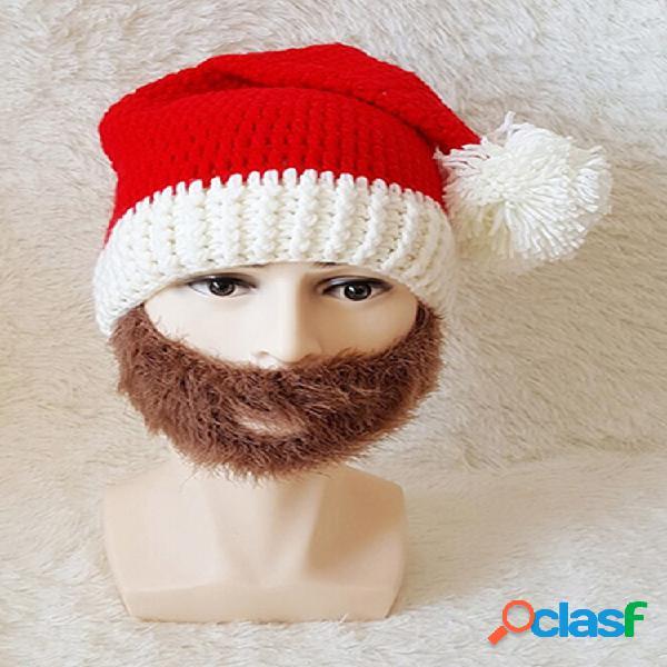 Hombres mujer gorros de punto de invierno de santa claus cráneo cara mascara sombrero de barba para regalo de navidad