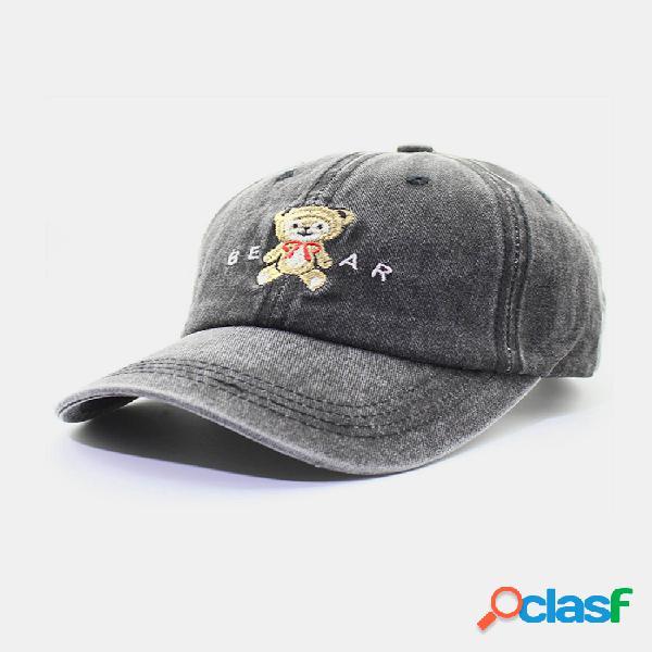 Hombres y mujer gorra de béisbol de dibujos animados de oso lindo gorra de algodón lavada