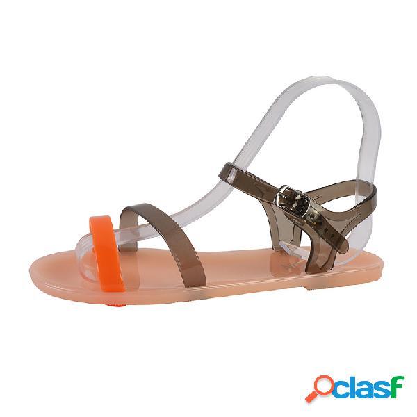 Mujer punta abierta diaria soft strappy flat sandalias