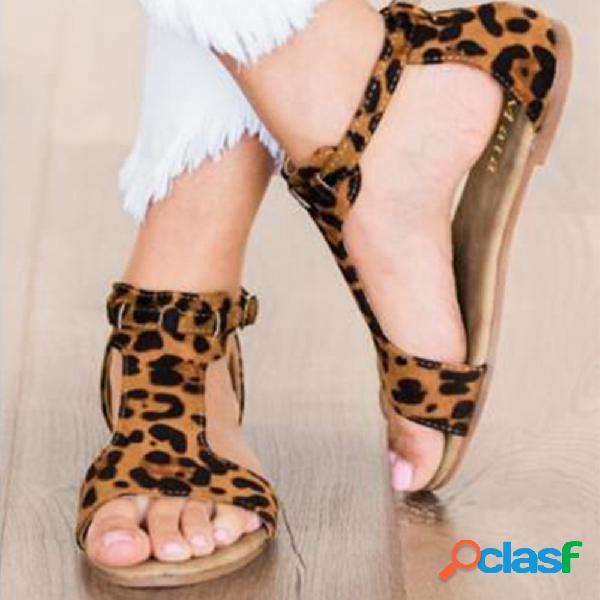 Tamaño grande mujer cómodo leopardo con punta abierta hebilla t correa plana sandalias