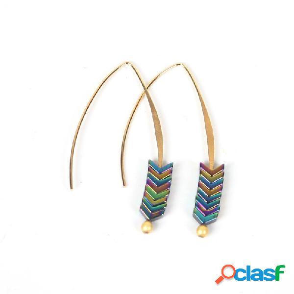 Estilo de moda magnético oreja drop v shape arrow pendientes aleación oreja gancho para mujer