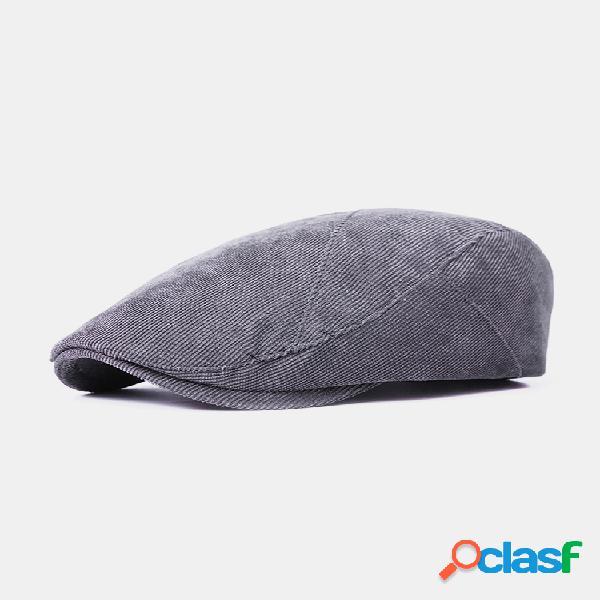 Hombres mujer gorra de boina de algodón de color sólido sombrilla casual exterior ajustable sombrero
