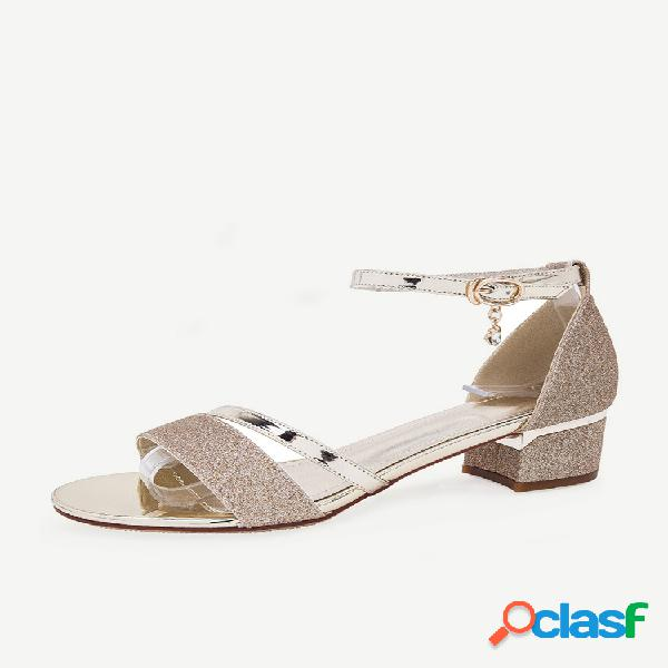 Mujer zapatos de tacón cuadrado de gran tamaño sandalias boda zapatos